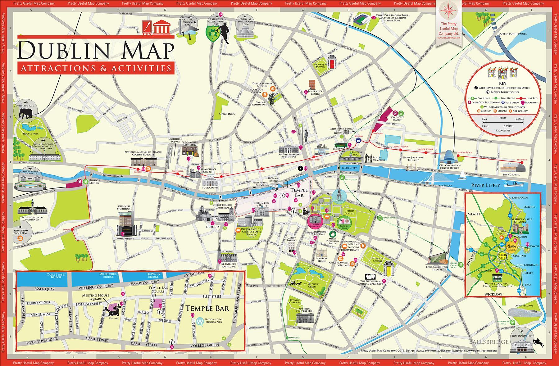 Sehenswürdigkeiten in Dublin-map - Karte der ...
